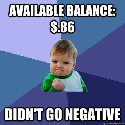 Available balance: $.86 Didn't go negative - Available balance: $.86 Didn't go negative  Success Kid