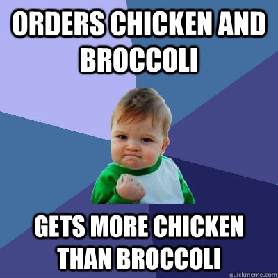 Orders chicken and broccoli  gets more chicken than broccoli   Success Kid