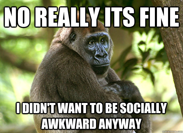 no really its fine I didn't want to be socially awkward anyway