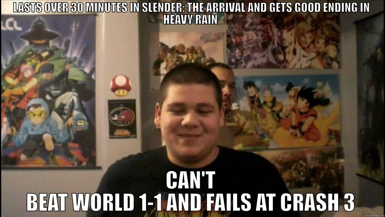 Elliot Cancel in a nutshell - LASTS OVER 30 MINUTES IN SLENDER: THE ARRIVAL AND GETS GOOD ENDING IN HEAVY RAIN  CAN'T BEAT WORLD 1-1 AND FAILS AT CRASH 3 Misc