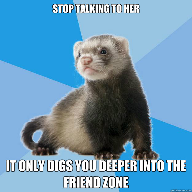 STOP TALKING TO HER IT ONLY DIGS YOU DEEPER INTO THE FRIEND ZONE