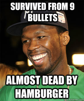 SURVIVED FROM 9 BULLETS ALMOST DEAD BY HAMBURGER