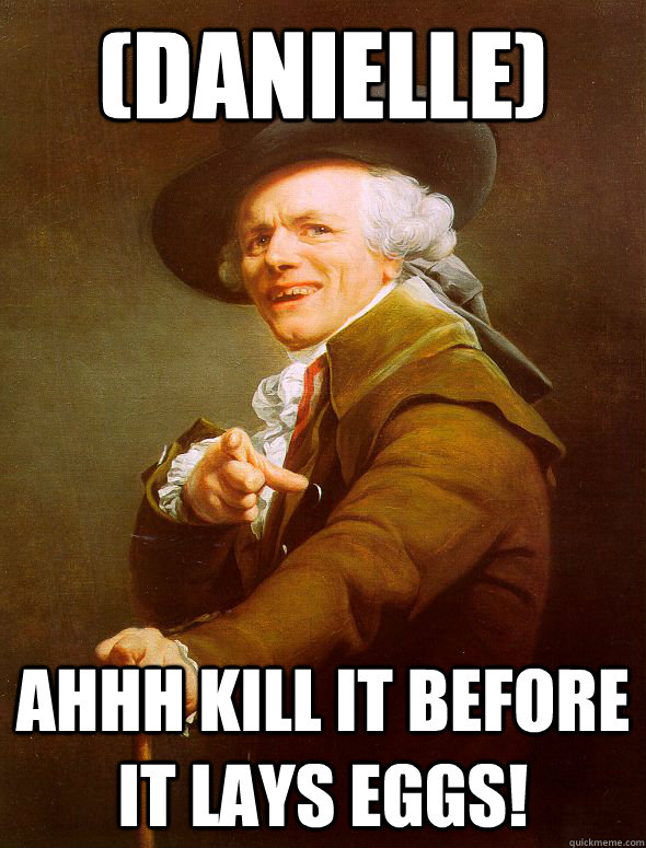 (Danielle) AHHH KILL IT BEFORE IT LAYS EGGS! - (Danielle) AHHH KILL IT BEFORE IT LAYS EGGS!  Joseph Ducreux