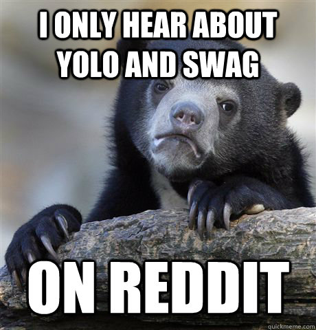 I only hear about yolo and swag on reddit - I only hear about yolo and swag on reddit  Confession Bear