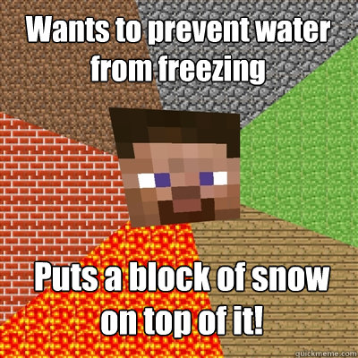 Wants to prevent water from freezing Puts a block of snow on top of it!