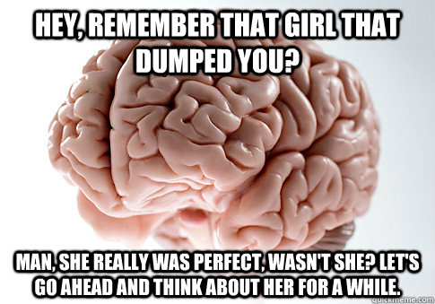 hey, remember that girl that dumped you?  Man, she really was perfect, wasn't she? Let's go ahead and think about her for a while. - hey, remember that girl that dumped you?  Man, she really was perfect, wasn't she? Let's go ahead and think about her for a while.  Scumbag Brain