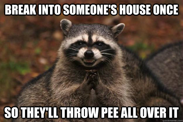 Break into someone's house once so they'll throw pee all over it - Break into someone's house once so they'll throw pee all over it  Evil Plotting Raccoon