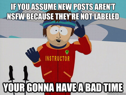 If you assume new posts aren't NSFW because they're not labeled Your gonna have a bad time