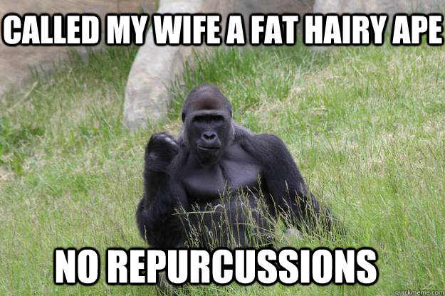 Called my wife a fat hairy ape no repurcussions