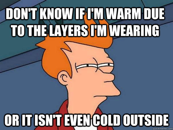 Don't know if I'm warm due to the layers I'm wearing or it isn't even cold outside - Don't know if I'm warm due to the layers I'm wearing or it isn't even cold outside  Futurama Fry