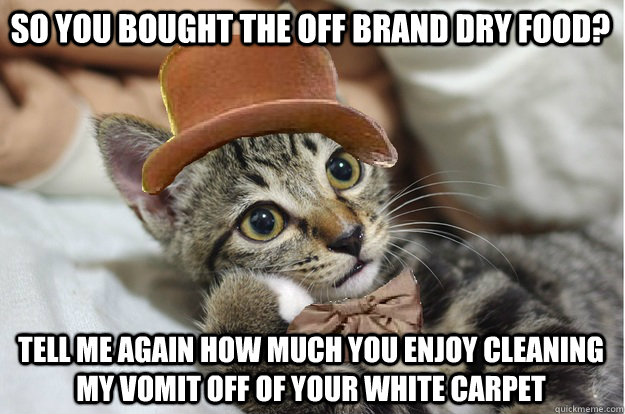 So you bought the off brand dry food? Tell me again how much you enjoy cleaning my vomit off of your white carpet