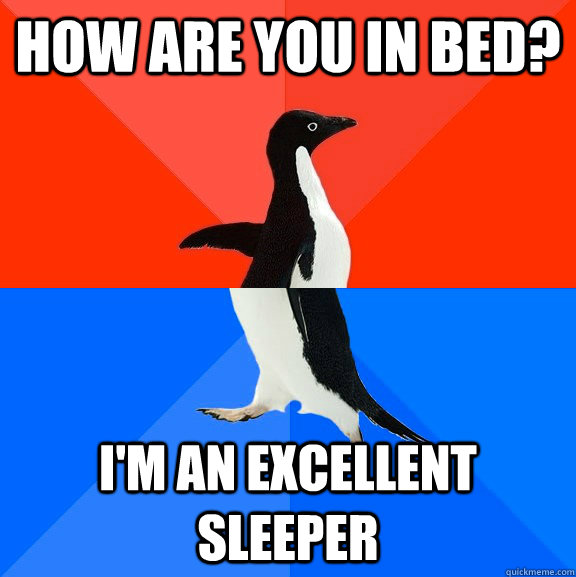 How are you in bed? I'm an excellent sleeper - How are you in bed? I'm an excellent sleeper  Socially Awesome Awkward Penguin