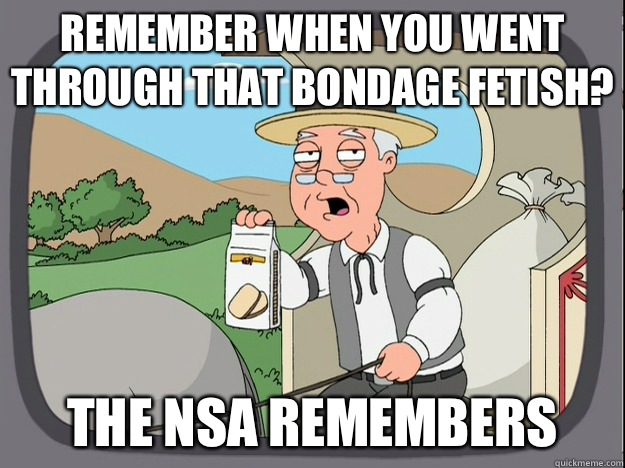 Remember when you went through that bondage fetish? The NSA remembers