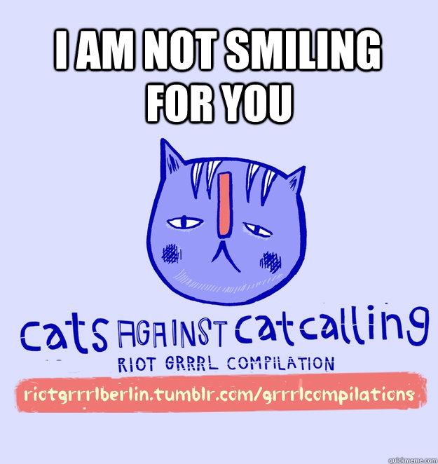 i am not smiling for you - i am not smiling for you  cats against catcalling