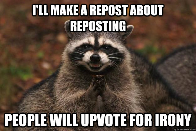 I'll make a repost about reposting People will upvote for irony - I'll make a repost about reposting People will upvote for irony  Evil Plotting Raccoon