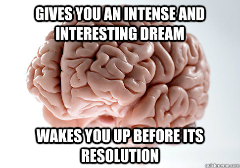 gives you an intense and interesting dream wakes you up before its resolution - gives you an intense and interesting dream wakes you up before its resolution  Scumbag Brain