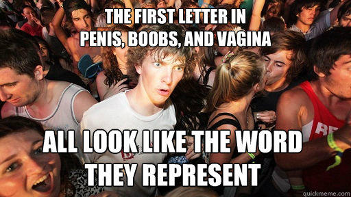 The first letter in  penis, boobs, and vagina all look like the word  they represent  - The first letter in  penis, boobs, and vagina all look like the word  they represent   Sudden Clarity Clarence