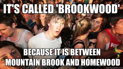 It's called 'Brookwood' Because it is between  mountain brook and homewood - It's called 'Brookwood' Because it is between  mountain brook and homewood  Sudden Clarity Clarence