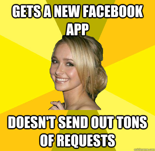 gets a new facebook app doesn't send out tons of requests