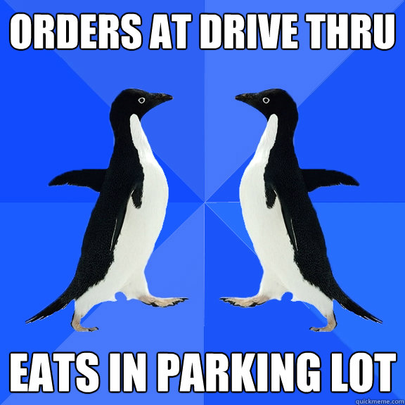Orders at Drive Thru Eats in parking lot  Dancing penguins