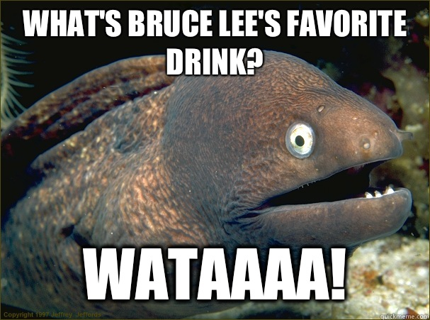 What's Bruce Lee's favorite drink? Wataaaa! - What's Bruce Lee's favorite drink? Wataaaa!  Bad Joke Eel