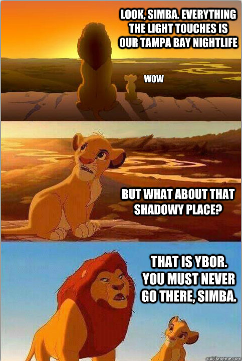 Look, Simba. Everything the light touches is our Tampa Bay Nightlife But what about that shadowy place? That is Ybor. You must never go there, Simba.  wow