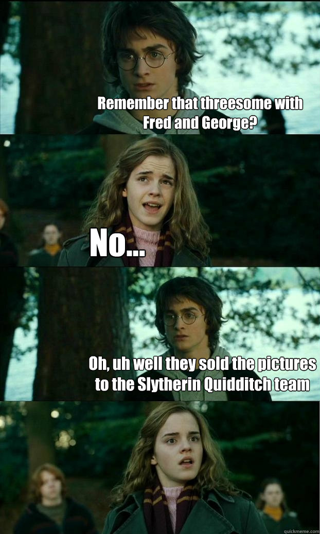Remember that threesome with Fred and George? No... Oh, uh well they sold the pictures to the Slytherin Quidditch team - Remember that threesome with Fred and George? No... Oh, uh well they sold the pictures to the Slytherin Quidditch team  Horny Harry