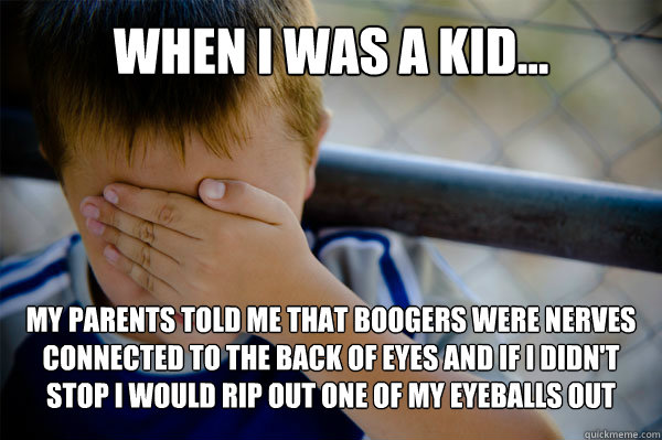 WHEN I WAS A KID... My parents told me that boogers were nerves connected to the back of eyes and if I didn't stop I would rip out one of my eyeballs out - WHEN I WAS A KID... My parents told me that boogers were nerves connected to the back of eyes and if I didn't stop I would rip out one of my eyeballs out  Misc