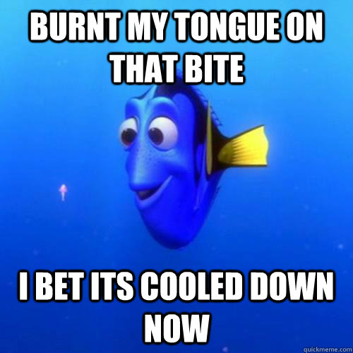burnt my tongue on that bite  i bet its cooled down now - burnt my tongue on that bite  i bet its cooled down now  dory