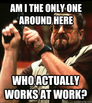 AM I THE ONLY ONE Around here who actually works at work? - AM I THE ONLY ONE Around here who actually works at work?  Misc