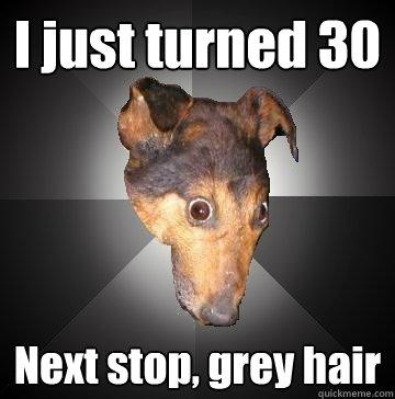I just turned 30 Next stop, grey hair - Depression Dog - quickmeme