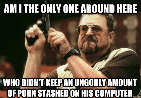 Am I the only one around here Who didn't keep an ungodly amount of porn stashed on his computer - Am I the only one around here Who didn't keep an ungodly amount of porn stashed on his computer  Am I the only one