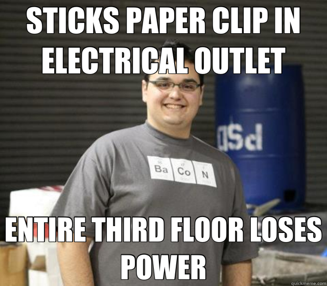 STICKS PAPER CLIP IN ELECTRICAL OUTLET ENTIRE THIRD FLOOR LOSES POWER
