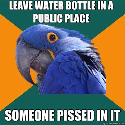 Leave water bottle in a public place Someone pissed in it - Leave water bottle in a public place Someone pissed in it  Paranoid Parrot