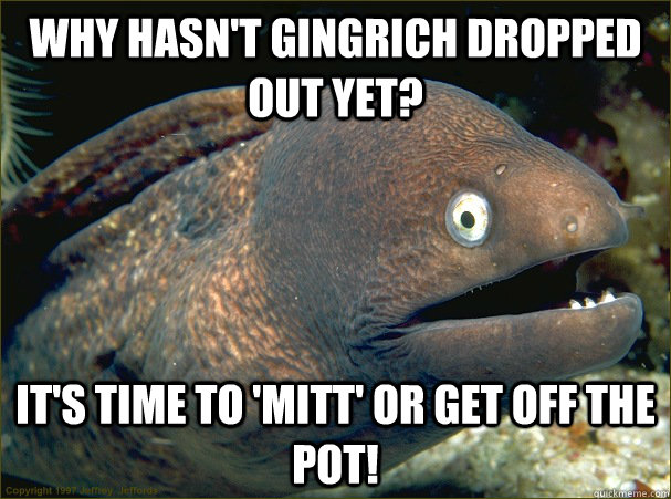 Why hasn't Gingrich dropped out yet? It's time to 'Mitt' or get off the pot! - Why hasn't Gingrich dropped out yet? It's time to 'Mitt' or get off the pot!  Bad Joke Eel