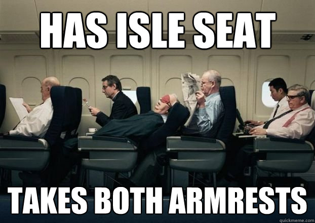 has isle seat takes both armrests