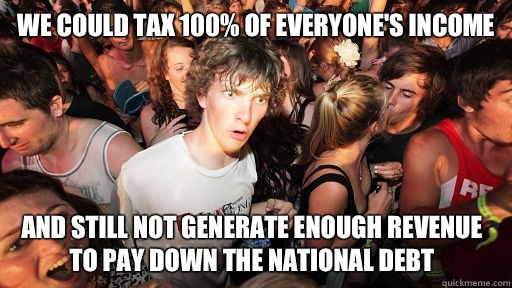 we could tax 100% of everyone's income And still not generate enough revenue to pay down the national debt - we could tax 100% of everyone's income And still not generate enough revenue to pay down the national debt  Sudden Clarity Clarence