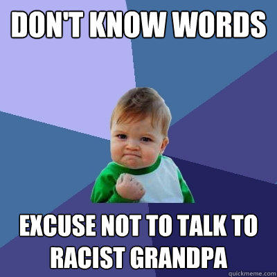 Don't know words excuse not to talk to racist Grandpa - Don't know words excuse not to talk to racist Grandpa  Success Kid