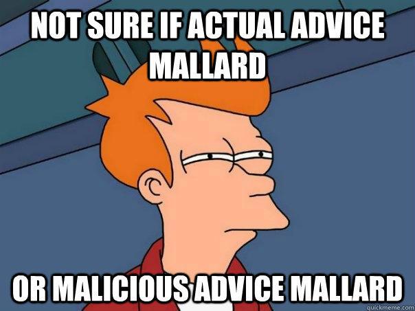 Not sure if Actual Advice Mallard Or Malicious Advice Mallard  Futurama Fry