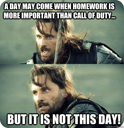 A day may come when homework is more important than Call of Duty... But it is not this day!