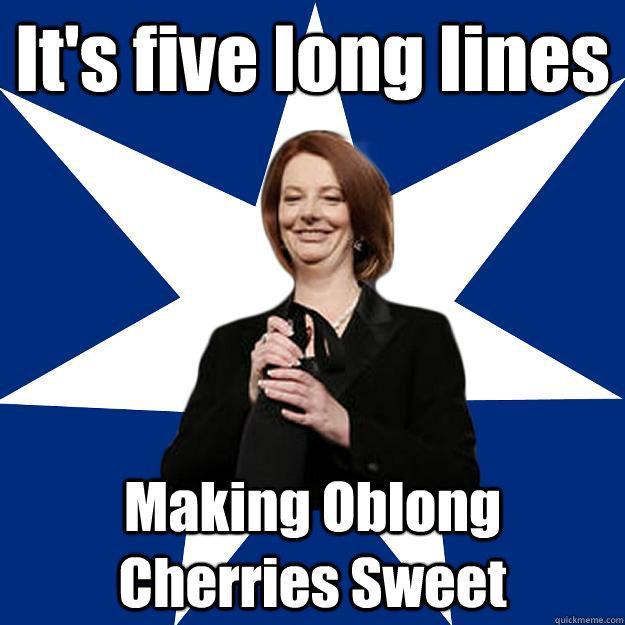 It's five long lines Making Oblong Cherries Sweet