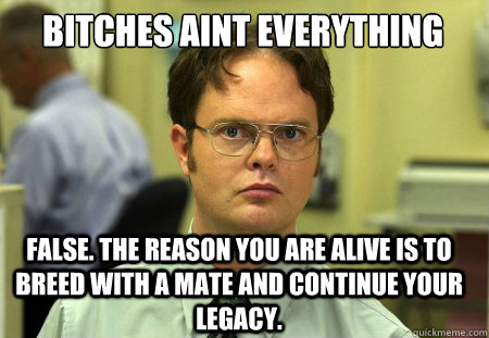 Bitches aint everything False. The reason you are alive is to breed with a mate and continue your legacy. - Bitches aint everything False. The reason you are alive is to breed with a mate and continue your legacy.  Schrute