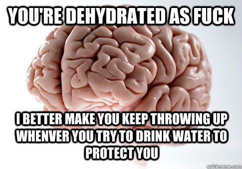 you're dehydrated as fuck I better make you keep throwing up whenver you try to drink water to protect you - you're dehydrated as fuck I better make you keep throwing up whenver you try to drink water to protect you  Scumbag Brain