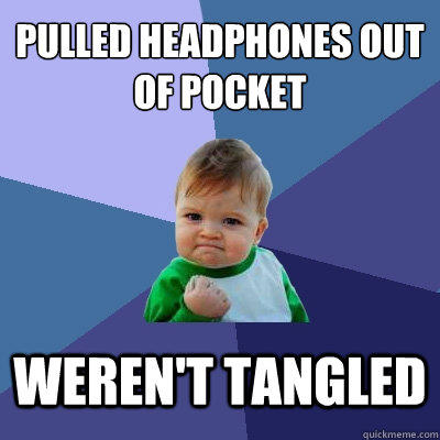 pulled headphones out of pocket weren't tangled - pulled headphones out of pocket weren't tangled  Success Kid