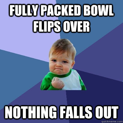 fully packed bowl flips over nothing falls out - fully packed bowl flips over nothing falls out  Success Kid