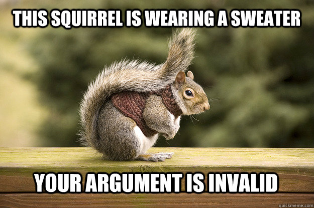 75face097c43c19ba07dc5f5750d603b6ff19cd726db8a4cd5415d0e94a06c76 this squirrel is wearing a sweater your argument is invalid
