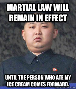Martial Law Will Remain In effect until the person who ate my ice cream comes forward.