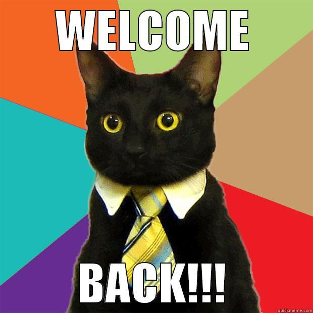 Welcome back to work  - WELCOME BACK!!! Business Cat
