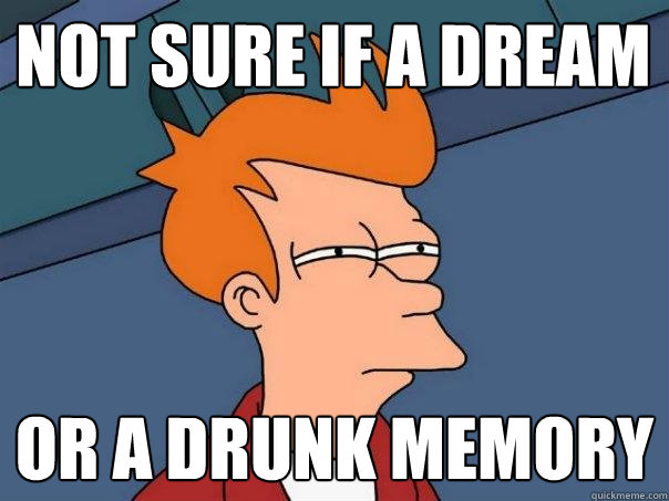 not sure if a dream  or a drunk memory - not sure if a dream  or a drunk memory  Futurama Fry