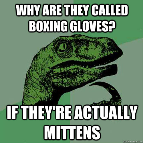 Why are they called boxing gloves? If they're actually mittens - Why are they called boxing gloves? If they're actually mittens  Philosoraptor